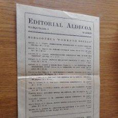 Catálogos publicitarios: ANTIGUO CATALOGO.EDITORIAL ALDECOA.MADRID 1941. Lote 288921248