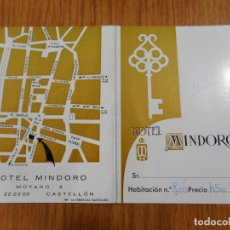 Catálogos publicitarios: ANTIGUA TARJETA DE HABITACION.HOTEL MINDORO.CASTELLON.. Lote 288925078