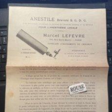 Catálogos publicitarios: MEDICINA - ANTIGUO FOLLETO 1 HOJA ANESTILE , MARCEL LEFÉVRE , FABRICANT D'INSTRUMENTS DE CHIRURGIE. Lote 288971538