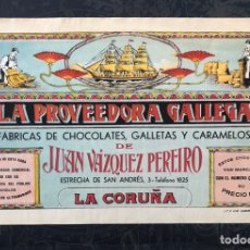 Catálogos publicitarios: ANTIGUA HOJA PUBLICITARIA DE LA PROVEEDORA GALLEGA (FÁBRICAS DE CHOCOLATES, GALLETAS Y CARAMELOS). Lote 289797328