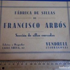 Catálogos publicitarios: (CAT-210901)CATALOGO DE SILLAS FRANCISCO ARBOS - VENDRELL - TARRAGONA. Lote 289893323
