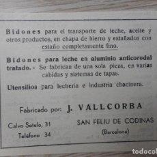 Catálogos publicitarios: ANTIGUA PUBLICIDAD.BIDONES PARA LECHE.J.VALLCORBA.SAN FELIU CODINAS.BARCELONA. Lote 289895053