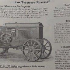 Catálogos publicitarios: PRECIOSO CATALOGO DE DEERING - SEGADORAS, TRACTORES, SELLO DE MUGICA ARELLANO Y CIA DE CIUDAD RE. Lote 294091938