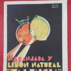 """Catálogos publicitarios: CARCAGENTE VALENCIA FOLLETO PUBLICITARIO ANTIGUO NARANJADA """"VALENCIA"""" DE TALENS Y FERRER. Lote 294124478"""
