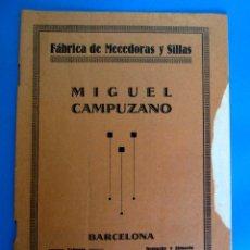 Catálogos publicitarios: CATÁLOGO FÁBRICA DE MECEDORAS Y SILLAS MIGUEL CAMPUZANO. BARCELONA, S/F.. Lote 295292728