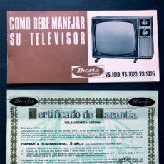 Cataloghi pubblicitari: TELEVISOR IBERIA - MODELO VS / BLANCO Y NEGRO / FOLLETO MANEJO Y GARANTÍA / AÑO 1969. Lote 295437803