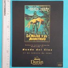 Catálogos publicitarios: CATALOGO SUBASTA MUNDO DEL CINE DURAN 2001 135 PAG, CARTELES PROGRAMAS FOTOS REVISTAS AUTOGRAFOS.... Lote 296802328