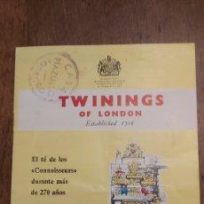 Catálogos publicitarios: TWININGS OF LONDON. EL TÉ DELS CONNOISSEURS. PUBLICIDAD DE CASA PIAZUELO LOGROÑO. IMPORTADORES.. Lote 297098348