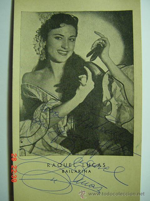 9369 RAQUEL LUCAS FOTOGRAFIA CON AUTOGRAFO - FLAMENCO ARTISTA CABARET CANTANTE BAILAOR ETC (Cine - Autógrafos)