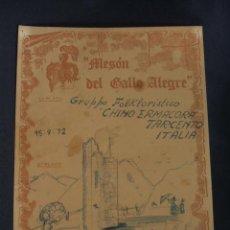Cine: DEDICATORIA Y AUTOGRAFOS ORIGINALES - GRUPPO FOLKLORISTICO - CHINO ERMACORA TARCENTO - ITALIA - . Lote 38329635