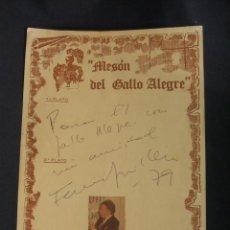Cine: DEDICATORIA Y AUTOGRAFO ORIGINAL - FERNANDO GUILLEN - 1979 . Lote 38339127