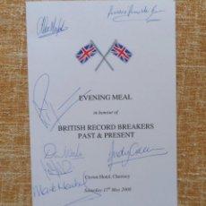 Cine: MENÚ DEL BRITISH RECORD BREAKERS PAST & PRESENT FIRMADO POR RICHARD NOBLE, ANDY GREEN, DON WALES,ETC. Lote 42257657