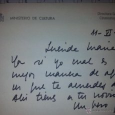 Cine: TARJETON CON DEDICATORIA MANUSCRITA Y AUTÓGRAFO DE PILAR MIRO.. Lote 43203196