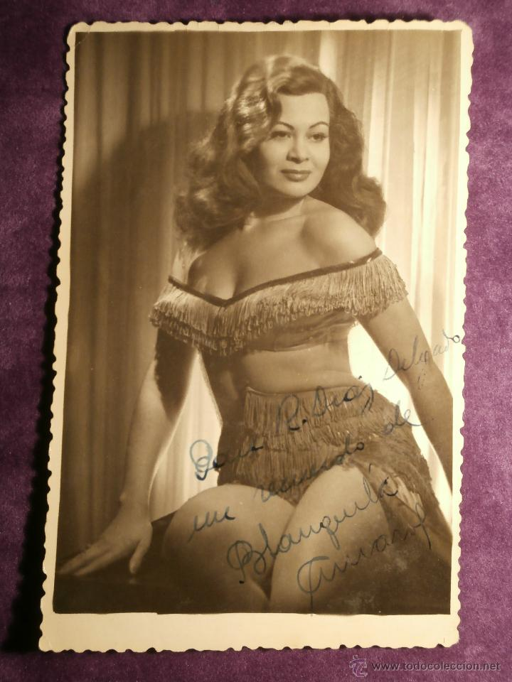Cine: Muy antiguo autógrafo - Blanquita Amaro - Sobre fotografía artística - Actriz, Cantante y Bailarina - Foto 3 - 43609732