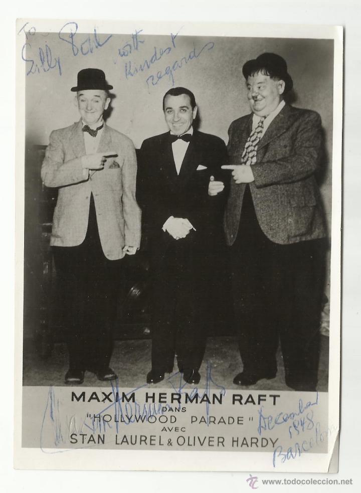 MAXIM HERMAN RAFT 1948 BARCELONA LAUREL Y HARDY (Cine - Autógrafos)