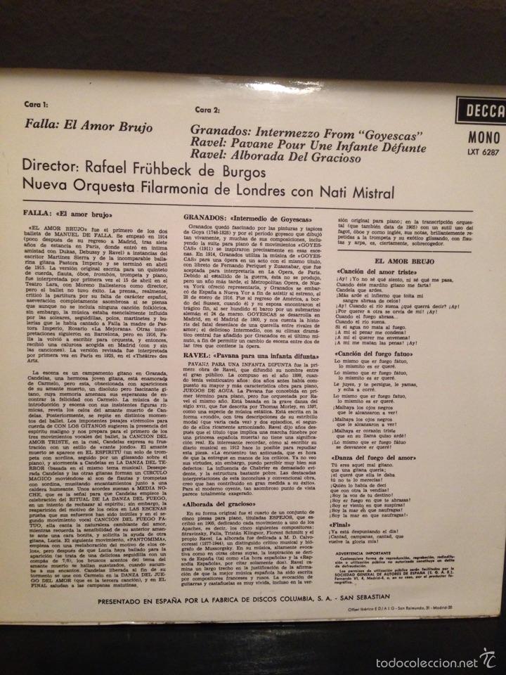 Cine: Disco con autografo de nati Mistral .el amor brujo.falla.orquesta filar de Londres y nati Mistral - Foto 3 - 53645527