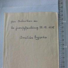 Cine: AUTOGRAFO ANTIGUO 1938 DE ALEMANIA, AMELITA ESPAÑA, CANTANTE, ACTRIZ. DANCE ORCHESTRA EDMÜND KÖSCHER. Lote 55138985