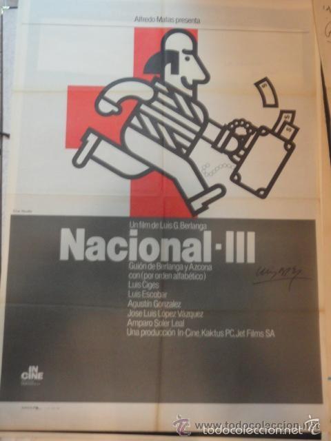 BERLANGA AUTOGRAFO NO IMPRESO EN POSTER ORIGINAL FILM NACIONAL III (Cine - Autógrafos)