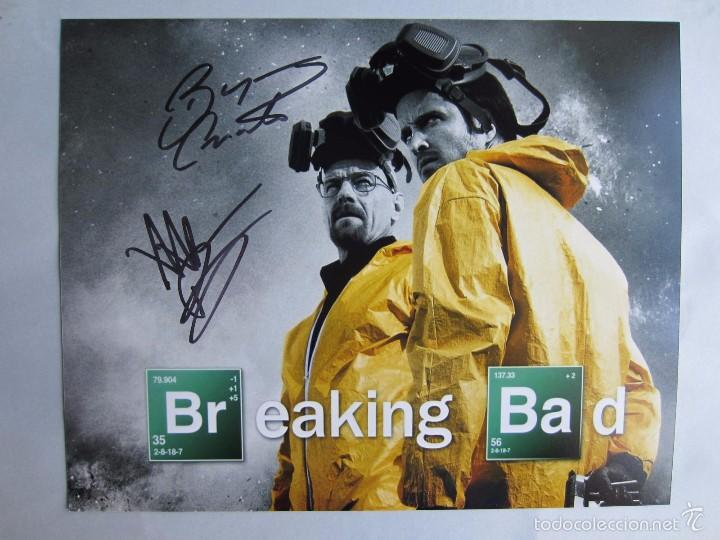 BRYAN CRANSTON Y AARON PAUL.BREAKING BAD.CINE.FIRMA AUTOGRAFO ORIGINAL. FOTO GRANDE (Cine - Autógrafos)