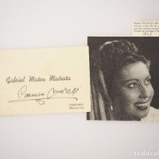 Cine: RECORTE PRENSA FOTOGRAFIA ACTRIZ CARMEN MORELL+AUTOGRAFO ORIGINAL 1949. Lote 67954573