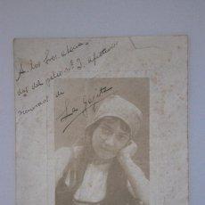 Cine: FOTOGRAFIA ORIGINAL FIRMADA Y DEDICADA POR LA GENIAL ARTISTA LA GOYITA, PALMA MALLORCA 1912. Lote 73733779