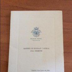 Cine: TARJETA INVITACION ALMUERZO EN HOMENAJE Y ADIÓS A LOLA MEMBRIVES. HOTEL PALACE 1964. Lote 87574804