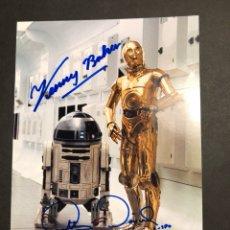 Cine: FOTO TARJETA AUTÓGRAFO KENNY BAKER ANTHONY DANIELS.R2-D2 C-3PO.STAR WARS LA GUERRA DE LAS GALAXIAS. Lote 112473718