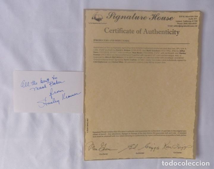 STANLEY KRAMER SIGNED CARD (Cine - Autógrafos)