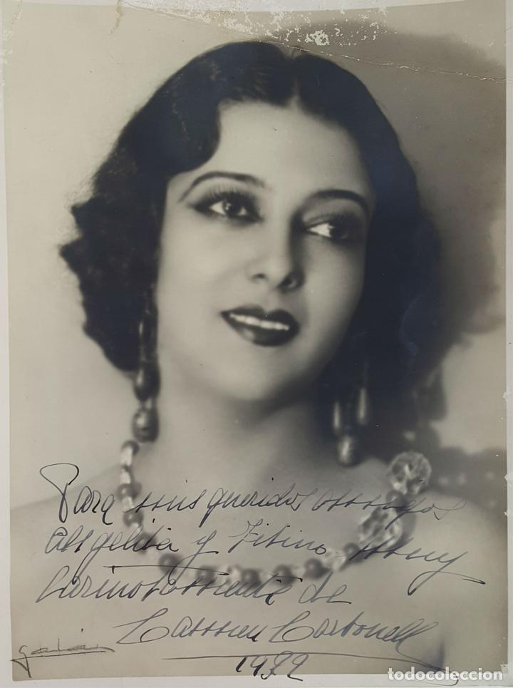 FOTOGRAFÍA DE LA ARTISTA ESPAÑOLA CARMEN CARBONELL. DEDICADA. 1922. (Cine - Autógrafos)