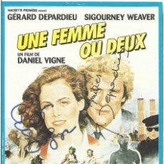 Cine: AUTÓGRAFO ORIGINAL, FIRMA DE SIGOURNEY WEAVER, GERARD DEPARDIEU Y MICHEL AUMONT. 13X9 CM.. Lote 129261807