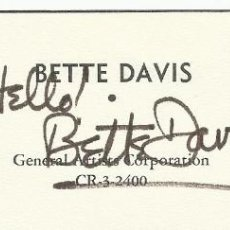 Cine: AUTÓGRAFO ORIGINAL, FIRMA DE BETTE DAVIS. 5X15 CM. HAND SIGNED. GENERAL ARTISTS CORPORATION. Lote 129262435