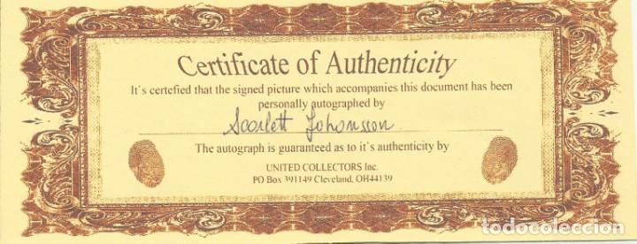 Cine: AUTÓGRAFO ORIGINAL DE SCARLETT JOHANSSON. HAND SIGNED. AUTOGRAPH. FIRMA. CERTIFICADO AUTENTICIDAD. - Foto 2 - 131688190