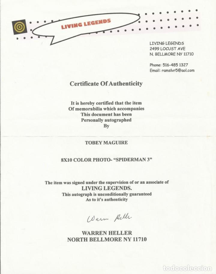 Cine: AUTÓGRAFO ORIGINAL DE TOBEY MAGUIRE. FIRMA. 25X20 CM. CERTIFICADO AUTENTICIDAD. SPIDERMAN III. - Foto 2 - 131712370