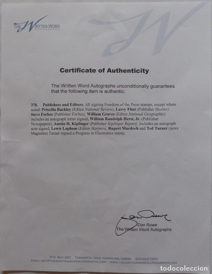 Cine: AUTOGRAFO EN Tarjeta firmada con sello de William Randolph Herst Jr. (Editorial Newspapaers - Foto 5 - 132148382
