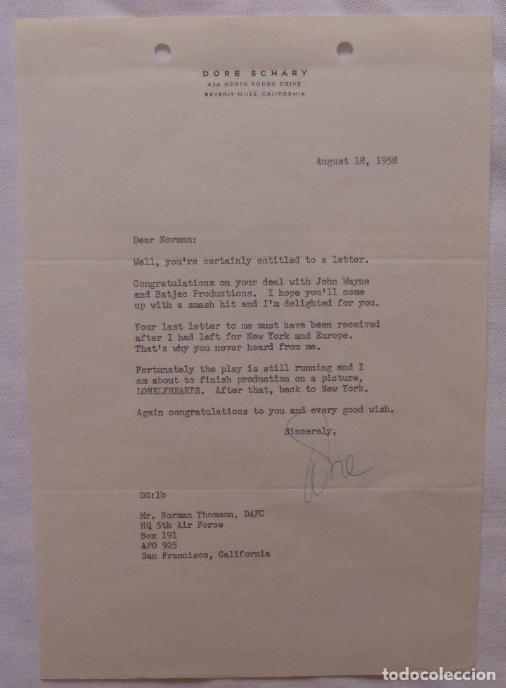 AUTOGRAFO EN CARTA FIRMADA POR DORE SCHARY, AGOSTO 18,1958, A NORMAN THOMSON (DAFC) (Cine - Autógrafos)