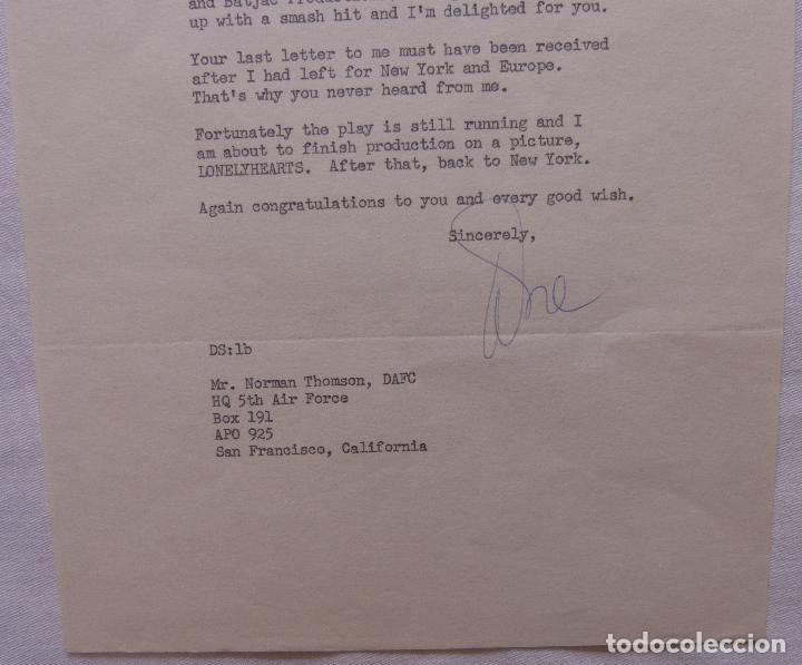 Cine: Autografo en Carta firmada por Dore Schary, agosto 18,1958, a Norman Thomson (DAFC) - Foto 2 - 136803638