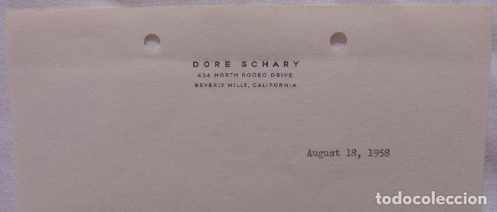 Cine: Autografo en Carta firmada por Dore Schary, agosto 18,1958, a Norman Thomson (DAFC) - Foto 3 - 136803638