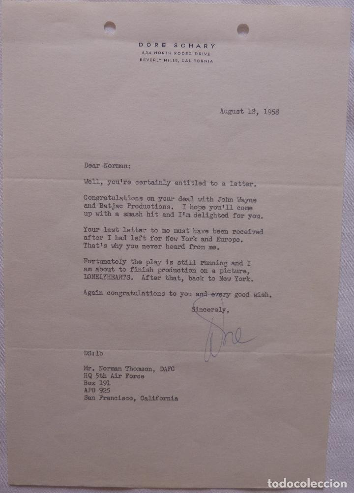 Cine: Autografo en Carta firmada por Dore Schary, agosto 18,1958, a Norman Thomson (DAFC) - Foto 4 - 136803638