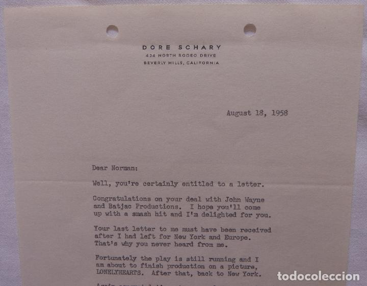 Cine: Autografo en Carta firmada por Dore Schary, agosto 18,1958, a Norman Thomson (DAFC) - Foto 5 - 136803638