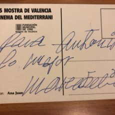 Cinema: TARJETA CON AUTÓGRAFO DE MARIA FELIX.15 MOSTRA DE VALENCIA CINEMA DEL MEDITERRANI 1994. Lote 140043912