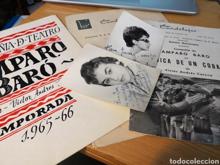 2 FOTOGRAFÍAS DEDICADAS DE AMPARO BARO Y TRE PROGRAMAS DE SU COMPAÑIA (Cine - Autógrafos)