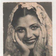 Cine: POSTAL DEL TEATRO CERVANTES CON AUTÓGRAFO ORIGINAL DE JUANITA REINA MÁLAGA 1946. Lote 154012742