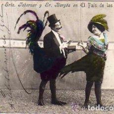 Cine: POSTAL FOTOGRÁFICA CON AUTÓGRAFO DE LA SRTA TABERNER Y SR BERGÉS EN EL PAIS DE LAS HADAS. Lote 155821274