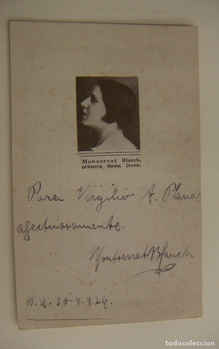 FOTOGRAFIA CON AUTOGRAFO DE LA ACTRIZ MONTSERRAT BLANCH 1926 (Cine - Autógrafos)
