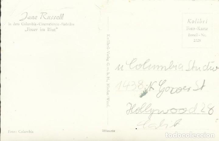 Cine: Jane Russell. Autógrafo, firma original. Postal fotográfica. Los caballeros las prefieren rubias. - Foto 2 - 176447535