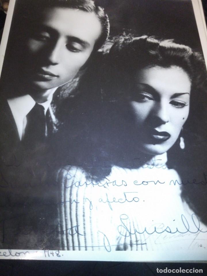 ~~~~ FOTO DEDICADA Y AUTOGRAFIADA DE TERESA Y LUISILLO, BARCELONA 1948. MIDE 24X18 . ~~~~ (Cine - Autógrafos)
