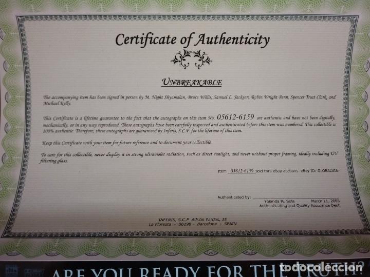 Cine: Cartel Poster Unbreakable ( El Protegido ) USA. Firmado por todo el reparto.Bruce Willis signed. - Foto 4 - 179142396