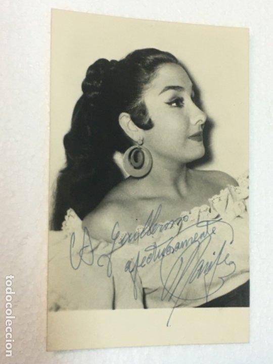 EXCELENTE FOTOGRAFIA AUTOGRAFO ORIGINAL ARTISTA MARIFE DE TRIANA CA.1940, 9X14 CMTS, EXCELENTE (Cine - Autógrafos)