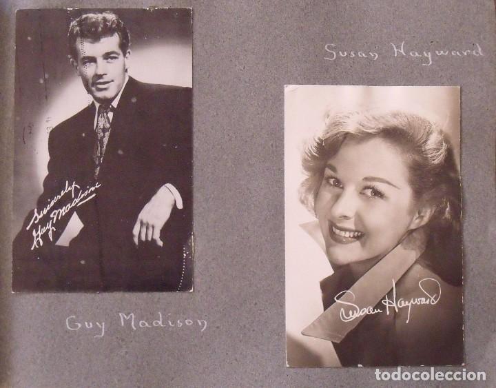 Cine: Álbum autógrafos estrellas Hollywood años 40. Johnny Weissmüller, Glen Ford, Bing Crosby, etc. - Foto 10 - 189938211