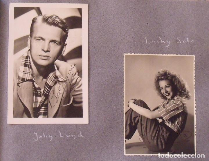 Cine: Álbum autógrafos estrellas Hollywood años 40. Johnny Weissmüller, Glen Ford, Bing Crosby, etc. - Foto 18 - 189938211
